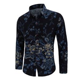 $enCountryForm.capitalKeyWord Australia - New fashion design shirt men long-sleeved linen Chinese style men's flower shirt M-4XL free shipping