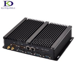 Fanless computer windows online shopping - Dual LAN Mini PC Windows Dual Nic Fanless Mini Computer RS232 COM Port Intel Core i3 industrial PC with Linux Windows