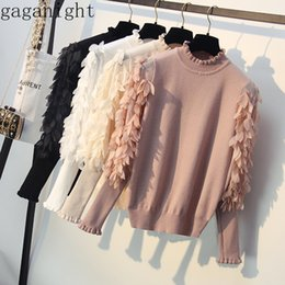 sweaters women flower 2019 - Gaganight Knitted Women Sweater Spring Autumn Ruffled Collar Loose Jumper Fashion Flower Sleeves Sweater Pullover Pull F
