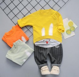 $enCountryForm.capitalKeyWord Australia - Infant fashion cartoon cute rabbit pattern shirt casual long-sleeved stitching sweater trousers boys and girls out trend set two-piece sets