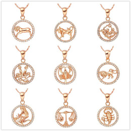 Libra neckLaces online shopping - Pretty Crystal Beautifully Necklace Gold Color Gemini Cancer Leo Virgo Libra Scorpio Constellations Pendants Necklaces