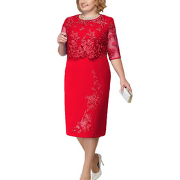 2019 Brand Plus Size 6XL Summer Dress Women Elegant Sexy Lace Stitching  Large Size Dress Office Lady Midi Party Dresses Blue Red 5eb7655480cf