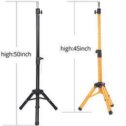 $enCountryForm.capitalKeyWord Australia - Adjustable 50Inch Golden Profession Tripod Stand Holder Hairdressing Training Mannequin Canvas Block Head Wig Stand Salon Tools