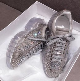 womens shoes black crystals 2019 - 2019 Fashion Luxury Designer Women Shoes Casual Crystal Rhinestone White Platform Sneaker Bling Womens Casual Shoes chea