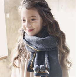 Cotton Neck Scarves NZ - New Children Soft Cashmere Scarves Baby Scarf Long Ring Wraps Shawl Stole Signature Cotton Scarves Kids Scarves Neck Scarf