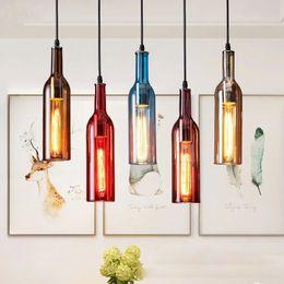 Ingrosso Lampadario per bottiglia di vino E27 Glass Lampada a sospensione vintage per Cafe Bar ristorante saloon home Decorazioni natalizie a led