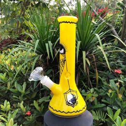 Gun Water Bong Australia - Yellow glass Smoke Gun Beaker glass bong with grace design straight tube beaded qround glass water bong cool look transpar