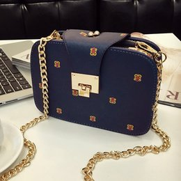 hand bag printed NZ - Square Sling Hand Bag Women's Chain Women's Printed Lock Bag Single Shoulder Crossbody Messager Design Hobos