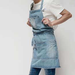 Wholesale lounge dresses cotton for sale – plus size New Adjustable Cotton Denim Apron Dress Baking Work Clothing Men Women Home Apron For Cafes Lounge Bars And Kitchens