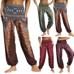 Wholesale baggy yoga pants resale online – 2020 New Men Women Yoga Pants High Waist Casual Loose Hippy Yoga Trousers Baggy Boho Aladdin Pants mujer pantalones GH
