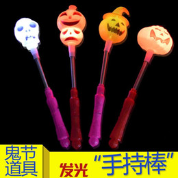 Wholesale Plastic Bats Australia - Halloween Ball Party shows spectators cheering for Luminescent Pumpkin Head Bat Lamp, Ghost Day props and toys