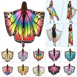 Wholesale halloween fairy costume women online – ideas Halloween Costumes Butterfly Wings Shawl Women Fairy Decorative Accessories Wrap Printing Shawl Scarves Scarves Party Supplies WX9