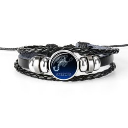 $enCountryForm.capitalKeyWord UK - Hot Statement Silver Plated 12 Constellation Zodiac Scorpio Time Gem Glass Dome Bracelet Leather Rope Bead Bangles Women Charm Jewelry Gifts