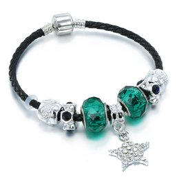 $enCountryForm.capitalKeyWord Canada - 2019 New Charm Blackish Green Crystal Star Pendant Black Leather Cord Aristocratic Silver Plated Pan Bracelet Girl Gift