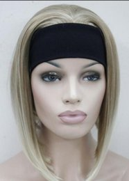 Blonde half wigs online shopping - WIG Hivision Blonde Mixed Cute wig with headband Women Daily Wig half FYTLD105 Hivision