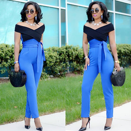Stitch Jumpsuits NZ - 2018 Women Sexy Black blue Stitching Summer jumpsuit Hot Halter Full Length Pants Playsuit Rompers Thin Women's Party jumpsuit