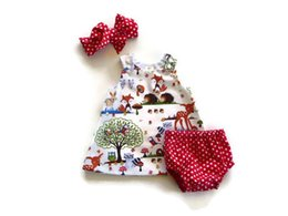 Red Dressed Cartoon Girl Australia - Girls Baby Clothes Cartoon Dots 3pcs sets Infant Clothing Suit Infant Outfits Toddler Clothes Newborn Clothing hair band+Dresses+shorts A826