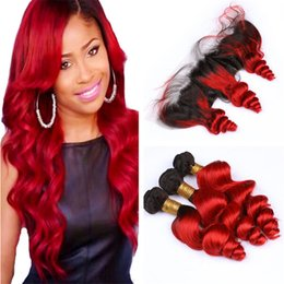 $enCountryForm.capitalKeyWord NZ - Ombre Red Wavy Virgin Hair Bundles with Frontal Lace Closure Loose Wave 1B Red ombre Human Hair Weaves with Full Frontals