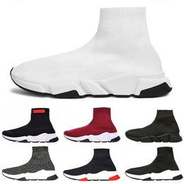 White speed online shopping - 2019 designer shoes Speed Trainer Luxury red grey black white Flat Classic Socks Boots Sneakers Women Trainers Runner size