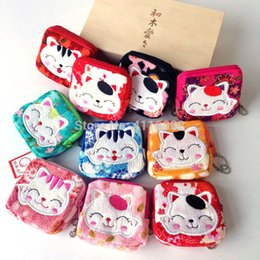Chinese  Lovely Women Purse Lucky Cat Small Zero Wallet Cloth Coin Purses Canvas Bag Women Student Gift Wholesale manufacturers