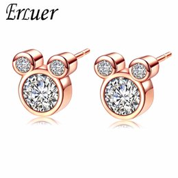 Discount rose shaped stud earrings - ERLUER Mickey Stud Earring For Women Girls Zircon Crystal Wedding Bridal Fashion Rose Gold Silver Color Mouse Shape Earr