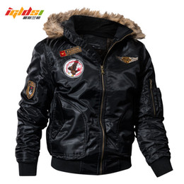 cargo military jacket NZ - Igldsi Men's Bomber Pilot Jacket Winter Parkas Army Military Motorcycle Jacket Cargo Outerwear Air Force Army Tactical Coats 4xl T2190615