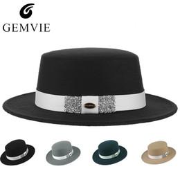 53e04a7022a38 Elegant Women Fedoras Retro Jazz Cap GEMVIE Solid Color Flat Top Wide Brim  Billycock Hat Fashion Rhinestone Ribbon Top Hat