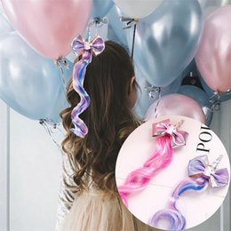Rainbow coloR haiR wigs online shopping - Cute Unicorn Gilded Bow Barrettes Gradual Color Wig Baby Hair Clip Rainbow Horse Cloud cm Firber Horsehair Girl Hairdress