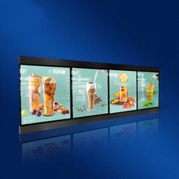 lighted menu boards 2019 - 60x160cm Slimline Magnetic LED Menu Boards Restaurant LED Illuminated Menu Light Boxes with 4pcs Light Box Units Wooden