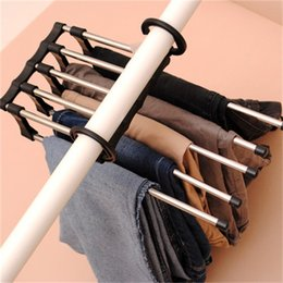 One tOwel online shopping - Multi Function Foldable Clothes Pants Rack Stainless Steel Coat Hanger Magic Five In One Portable Home Organization zb H1