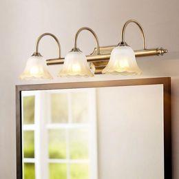 Glasses Vintage Australia - Vintage Europe Style E14 bulb vanity lights Bathroom Mirror Light Metal+Frosted glass shade makeup table wall sconces espejo luz
