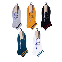 DesigneD socks online shopping - Popular Men Boat Sock Champion Design Embroided Sports Socks Outdoor Wear Ankle Hose High Quality xs E1