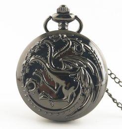 $enCountryForm.capitalKeyWord Australia - Steampunk Game of Thrones House Targaryen Quartz Pocket Watch Awesome Dragon Fire and Blood Man Women Necklace Pendant gift
