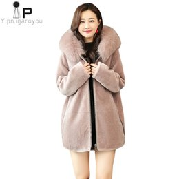 6b9a5f4dc07 Fox Fur Collar Long Fake fur jacket Women Hooded Winter New Faux Coat  Fashion Plus Size Women Thick Warm Jacket Overcoat 4XL
