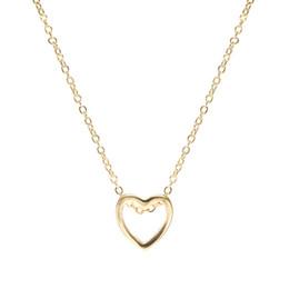 $enCountryForm.capitalKeyWord Australia - Cheap Fashion necklace heart design black gold sliver hollow love jewelry for women wedding gift 2019 hot