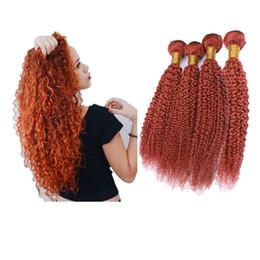 $enCountryForm.capitalKeyWord Australia - Brazilian Double Wefted Virgin Human Hair 4Bundles Orange Kinky Curly Hair Extensions Pure Color Orange Color Hair Weaves 10-30 Inch
