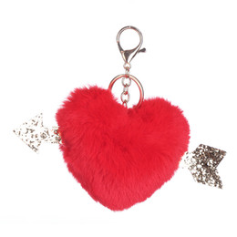 Fur Rabbit Heart UK - Naiveroo Lovely Fluffy Pompom Keychains Soft Heart Shape Faux Rabbit Fur Ball Car Handbag Key Rings Christmas Gift Accessories