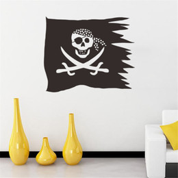 Wholesale tv unite resale online - 2684 Europe And The United States Burst Pirate Flag Creative Living Room TV Background Decorative Wall Sticker