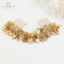 $enCountryForm.capitalKeyWord Australia - Fashion Handmade Wedding Hair Accessories Gold Leaves Brides Hair Combs Crystal Bridal Hairbands Evening Hair Accessories T190628