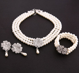 Pearl Sets Australia - IN STOCK Ivory Full Pearls Bridal Jewelry Set Necklace Stud Earrings Bracelet Wedding Jewelry Sets for Bride Bridesmaids Party Accessories