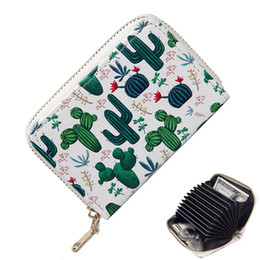 red credit cards NZ - Rfid Printed Short Accordion Credit Card Holder Ladies Small Cute Cactus Wallets Girl Business Id Cards Case Women Coin Purse