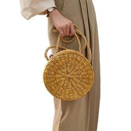 Corn Box Australia - Straw Crossbody Bag Women Weave Messenger Bag Round Summer Beach Money Boxes and Handbags (Corn)
