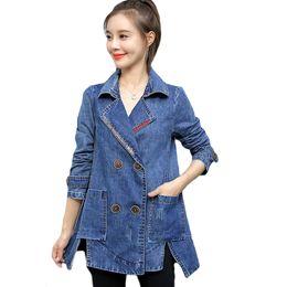 Double Xl Size Jeans NZ - Autumn Denim Jacket Coat Women Windbreaker Vintage Jeans Jacket Women Outerwear Spring Plus Size Loose Korean Coat Female D687