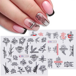 $enCountryForm.capitalKeyWord Australia - 1pcs Nail Stickers Black Line Sexy Girl Slider Writing Letter Tattoo Nail Art Water Transfer Decals Manicure Decor TRBN1237-1248