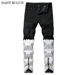 jean zippers NZ - Destroyed Men's Jeans Skinny Slim Fit Denim Pants Casual Zipper Legs Trouser Ripped Distressed Printed Black White Long Jeans