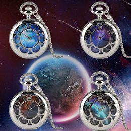 Blue Quartz Pendant NZ - 4 Types Unique Starry Sky Earth Pattern Route Map Blue Meteorite Quartz Pocket Watch Necklace Silver Pendant Top Souvenir Gifts