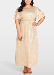 Dress stamps online shopping - 2019 Women Fashion Plus Size Dress Shining Floral Gold Stamping Evening Party Maxi Dress Vestido Maxi Fiesta De Noche G10273CA XL