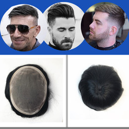 $enCountryForm.capitalKeyWord NZ - Mono Lace Men Toupee Fine Mono With Npu Around Toupee for Men Replacement System 100% Indian Hair Human Hair Straight Fine Mono Hairpiece