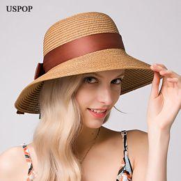 518a4f4d wholesale Hot Fashion women straw sun hat female wide brim bow-knot ribbon  straw hats casual summer buckets beach hat