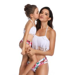 family swimwear UK - Tassel Mom Baby Swimwear Matching Outfits Mom Daughter Swimsuits Family Look Clothes Mid Waist Floral Summer Bikini Set